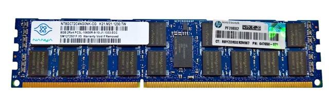 Memory RAM 1x 8GB Nanya ECC REGISTERED DDR3  1333MHz PC3-10600 RDIMM | NT8GC72C4NG0NK-CG